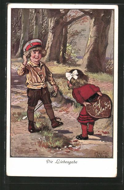 Künstler-AK Maxim Trübe: Die Liebesgabe, kleiner Soldat und Mädchen mit Lebkuchenherz