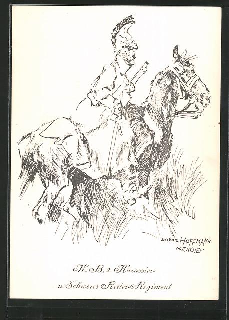 Künstler-AK Anton Hoffmann - München: Kavallerist d. K. B. 2. Kürassier- u. Schweres Reiter-Regiment in Uniform zu Pferd