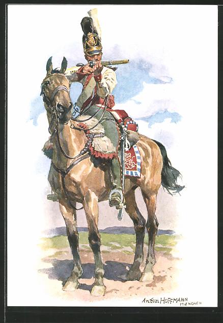 Künstler-AK Anton Hoffmann - München: Dragoner d. 2. Dragoner-Regiment Taxis in Uniform zu Pferde 1804-1811