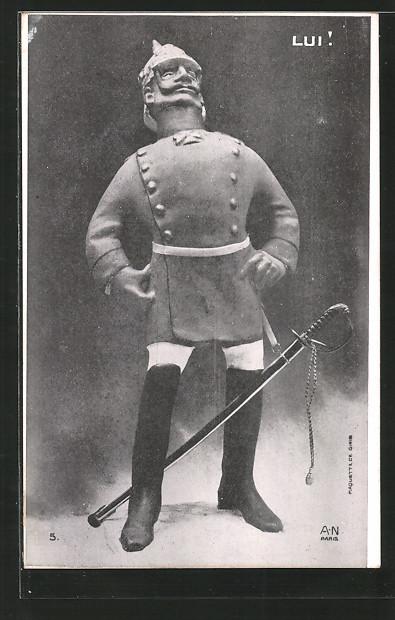 AK Karikatur von Kaiser Wilhelm II.,