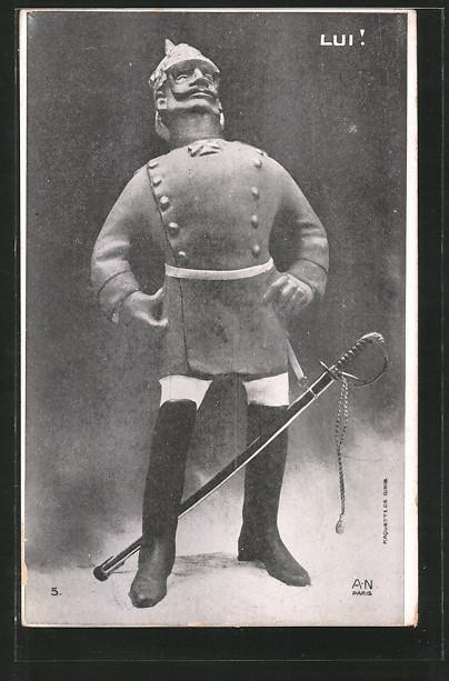 AK Lui!, Figur von Kaiser Wilhelm II., Karikatur