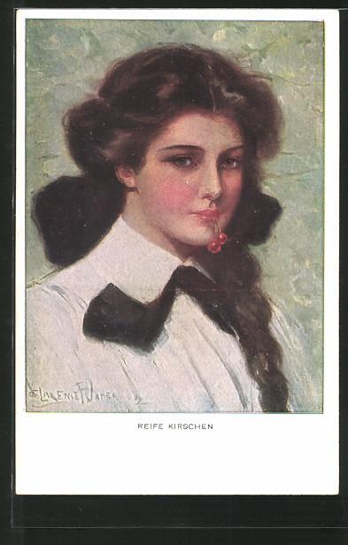 Künstler-AK Clarence F. Underwood: Reife Kirschen, Mädchenbildnis