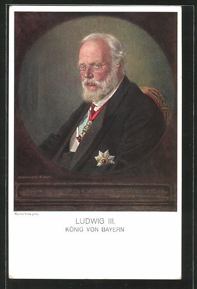 Künstler-AK Ludwig III., Portrait des Königs von Bayern