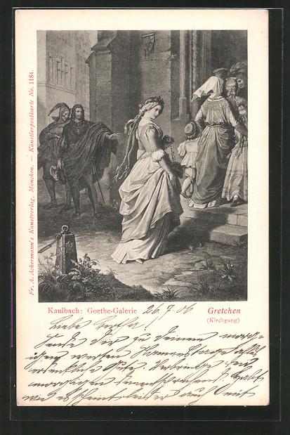 Künstler-AK Hermann Kaulbach: Goethe-Galerie, Gretchen