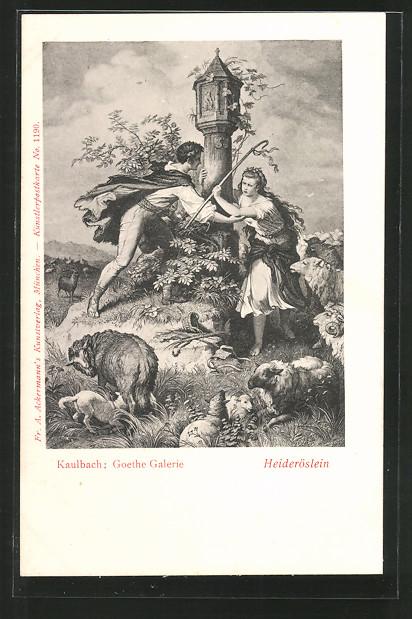 Künstler-AK Hermann Kaulbach: Goethe-Galerie, Heideröslein