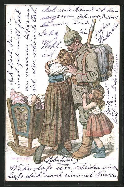Künstler-AK Emil Beithan: Soldat in Uniform mit Pickelhaube nimmt Abschied von seiner Familie