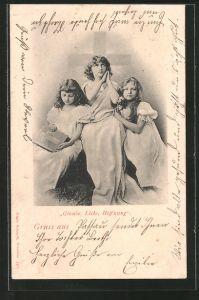 AK Allegorie: Drei Mädchen symbolisieren