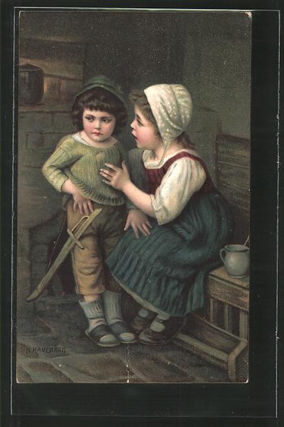 Künstler-AK Hermann Kaulbach: Hasenfuss, Mädchen und kleiner Möchtegernheld