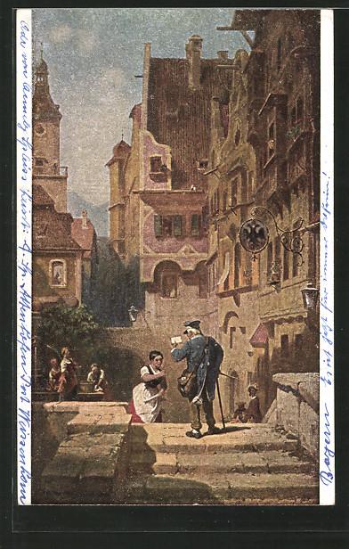 Künstler-AK Carl Spitzweg: Der Briefträger, Postbote