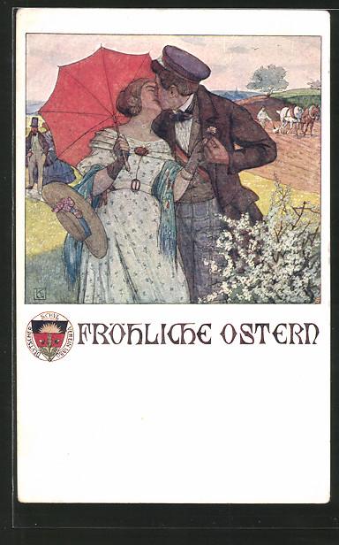 AK Deutscher Schulverein: Fröhliche Ostern, Paar beim Kuss