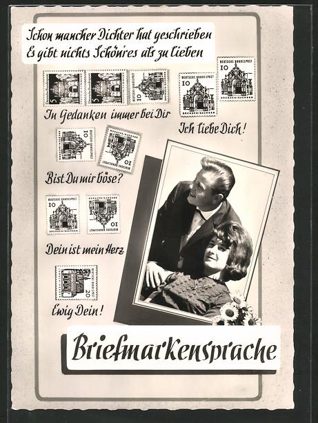 AK Briefmarkensprache, Liebespaar, versch. Briefmarken
