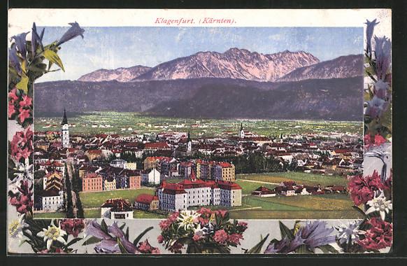 AK Klagenfurt, Stadtansicht gerahmt von Blumen
