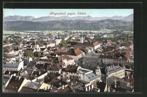 AK Klagenfurt, Blick gegen Süden mit Stadt und Alpen