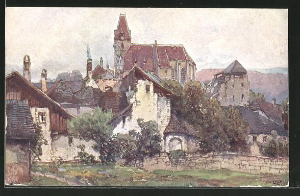 Künstler-AK Fritz Lach: Weissenkirchen a. D., Nibelungenweg, Ortsansicht
