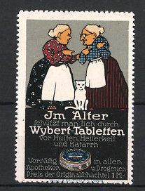 Reklamemarke Wybert Tabletten, Grossmütter im Gespräch & weisse Katze