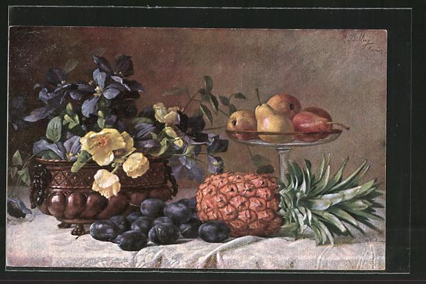 Künstler-AK M. Billing: Stillleben mit Pflaumen und Ananas