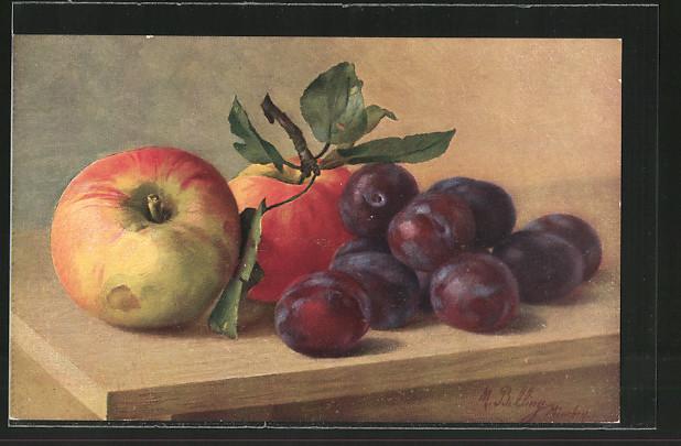 Künstler-AK M. Billing: Stillleben mit Äpfeln und Pflaumen