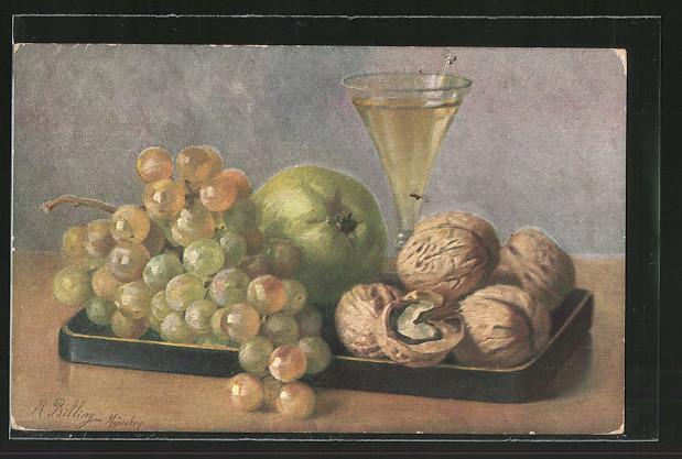 Künstler-AK M. Billing: Tablett mit Weintrauben und Nüssen