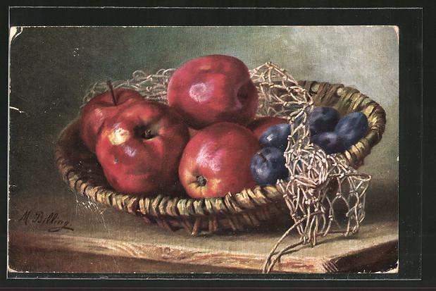 Künstler-AK M. Billing: Korbschale mit Äpfeln und Pflaumen