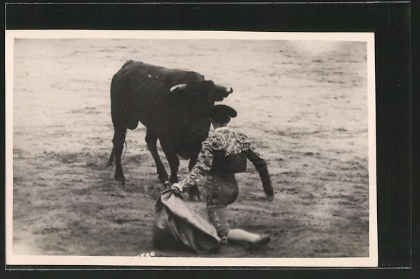 Foto-AK Stierkampf, Matador und Stier, Torero