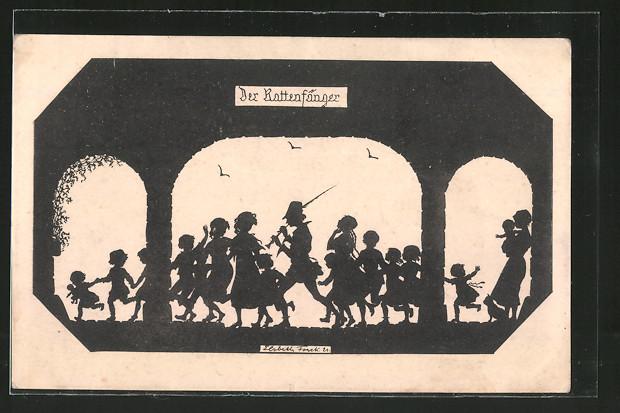 Künstler-AK Elsbeth Forck: Der Rattenfänger von Hameln führt die Kinder aus der Stadt, Schattenbild