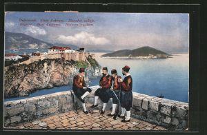 AK Ragusa, Insel Lacroma, Soldaten in Nationaltrachten