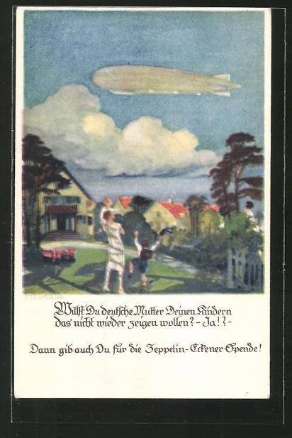 Künstler-AK Otto Amtsberg: Zeppelin-Eckener-Spende, Kinder freuen sich beim Anblick eines Zeppelins