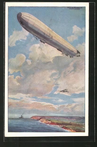 Künstler-AK Hans Rudolf Schulze: Zeppelin Reichsmarineluftschiff hält Wacht an der deutschen Ostseeküste, Flugzeug