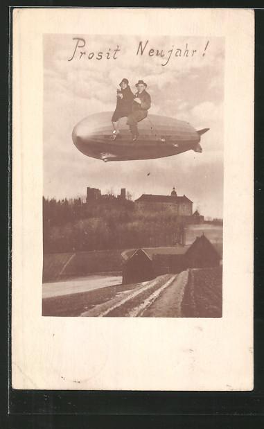 AK Liebespaar sitzt auf der Hülle eines Zeppelins, Neujahr, Fotomontage