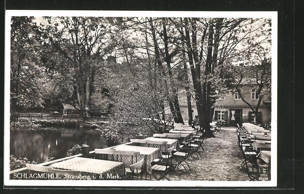 AK Strausberg, Gasthaus Schlagmühle mit Terrasse