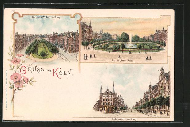 Lithographie Köln-Neustadt, Kaiser-Wilhelm-Ring, Deutscher Ring, Hohenzollern-Ring