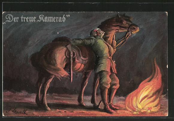 Künstler-AK Der treue Kamerad, verwundeter Soldat mit Pferd