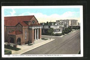 AK Wildwood.By-The Sea, NY, Atlantic Avenue, Showing Baptist Church