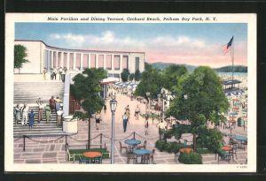 AK New York, NY, Main Pavillon and Dining Terrace, Orchard Beach, Pelham Bay Park