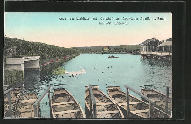 AK Berlin-Charlottenburg, Gasthaus Carlshof v. W. Wiemer am Spandauer Schiffahrts-Kanal, Schwäne