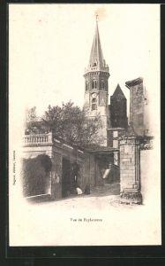 AK Puylaurens, Blick zur Kirche, l'Eglise