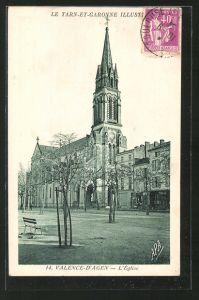AK Valence-d'Agen, l'Eglise, Blick zur Kirche