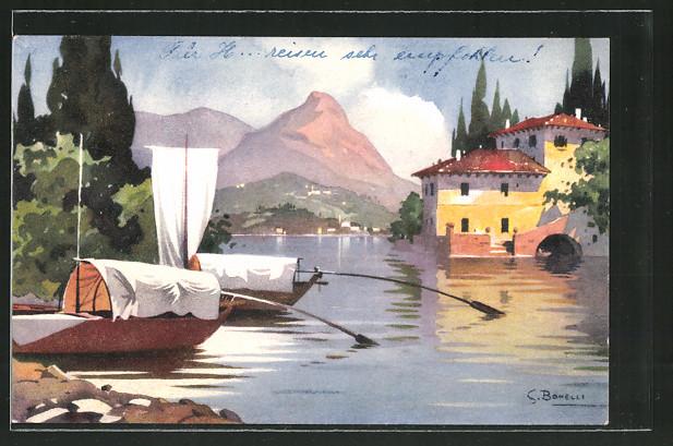Künstler-AK S. Bonelli: Siviano, Blick zum Ort, Boote