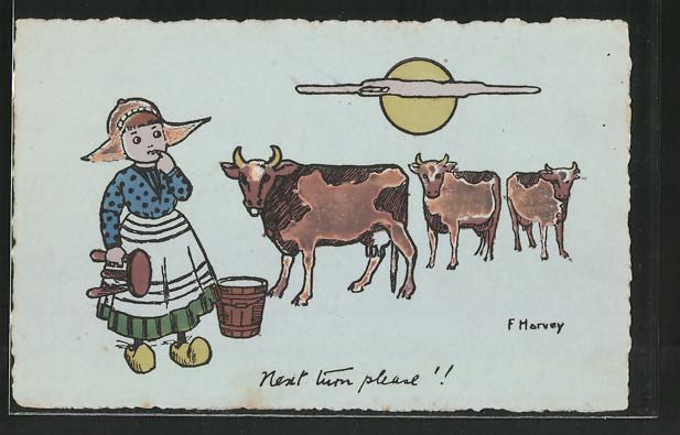 Künstler-AK sign. F. Harvey: niederländische Bäuerin mit Kühen