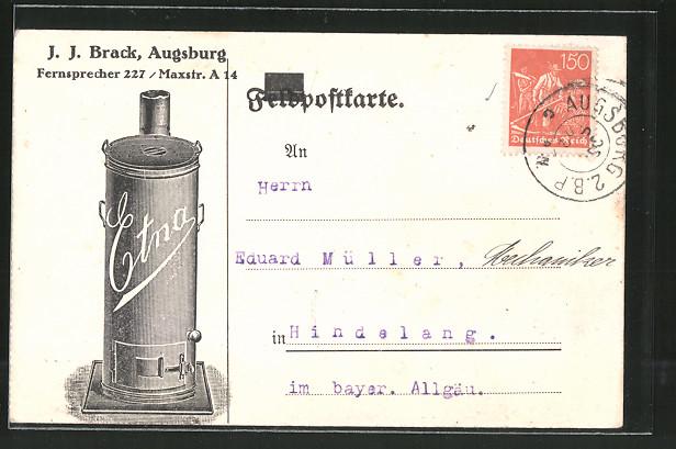 AK Augsburg, J. J. Brack, Maxstr. A 14, Etna, Ofen-Reklame