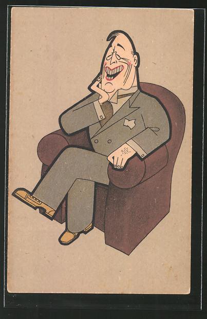 AK Karikatur eines Politikers