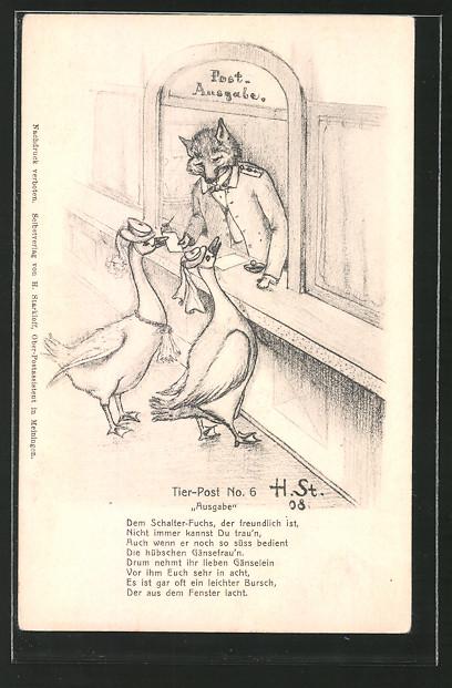 Künstler-AK H. Starkloff: Tier-Post No. 6, Ausgabe, Gänse an Post-Ausgabestelle