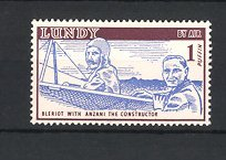 Reklamemarke Lundy by Air, Pilot Bleriot with Anzani the Constructor, Bleriot im Flugzeug