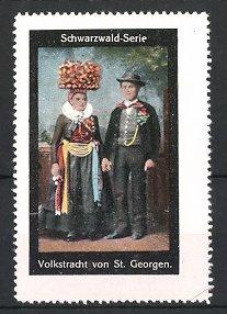 Reklamemarke Schwarzwald-Serie, Volkstracht von St. Georgen, Paar in Tracht