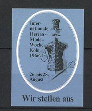 Reklamemarke Köln, Int. Herrenmode-Woche 1966, Schaufensterpuppe