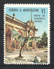 Reklamemarke Montecatini, Mostra Del Francobollo Turistico 1965, Gebäudeansicht & Brunnen mit Wasserspiel