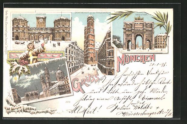 Winter-Lithographie München, Siegestor, Feldherrnhalle mit Theatiner Kirche, Isartor, Münchner Kindl