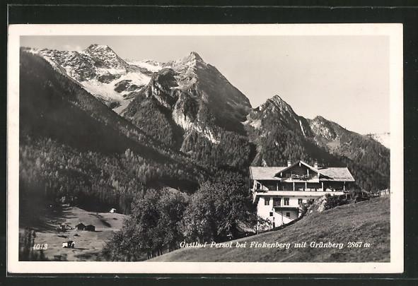 AK Finkenberg, Gasthof Persol mit Grünberg