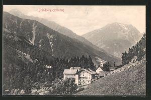 AK Brandberg im Zillertal, Ortsansicht aus der Vogelschau
