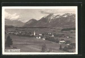 AK Tulfes, Ortspanorama mit Bergen